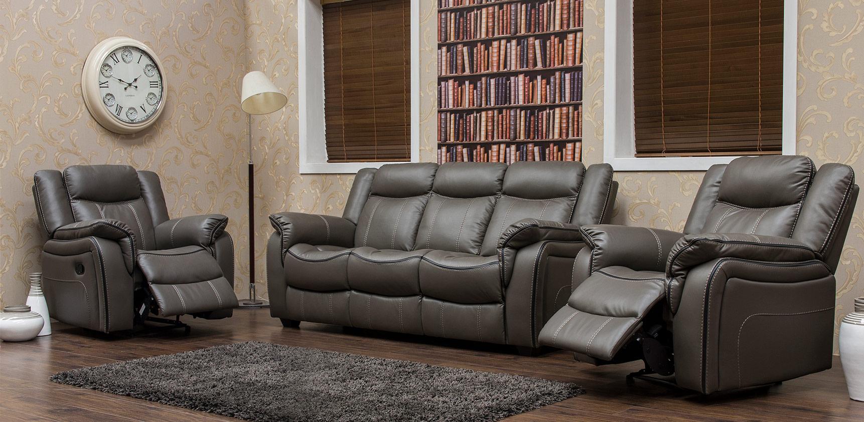 Caffreys Furniture Brooklyn-Leather-Look---Grey---3-+-1-+-1-a