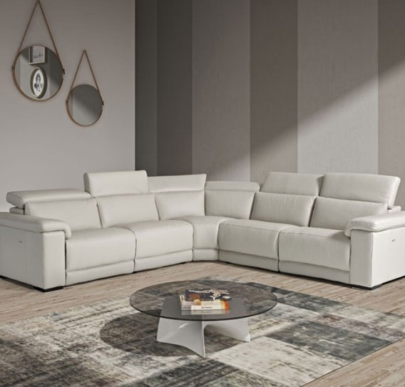 beechmount-furniture PALINURO GREY LEATHER SECTIONAL SOFA